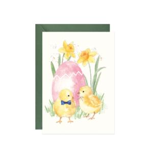 akwarelowa kartka wielkanocna kurczaki żonkile