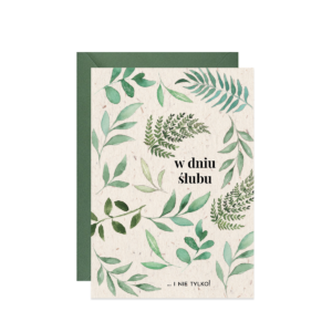 kartka z życzeniami na ślub eukaliptus liście w dniu ślubu
