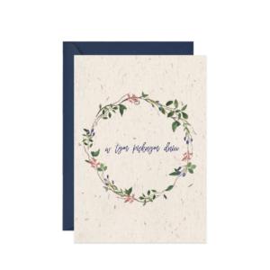 kartka z życzeniami na ślub wianek w tym pięknym dniu