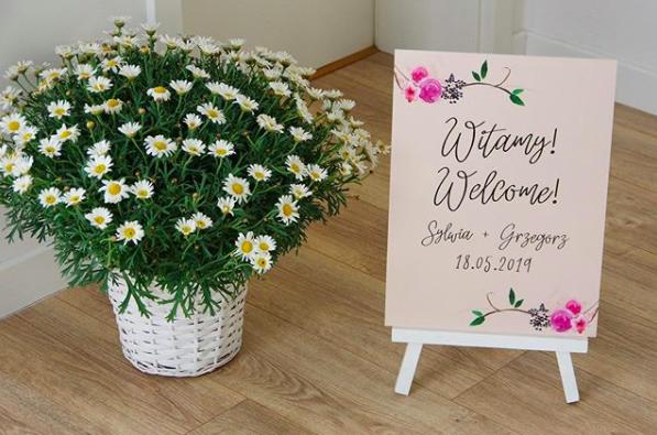 Tablica powitalna na wesele Witamy Paperwords