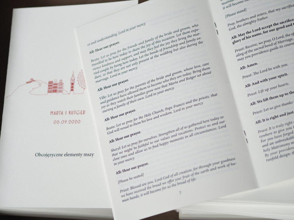 książeczka z tłumaczeniem ceremonii ślubu