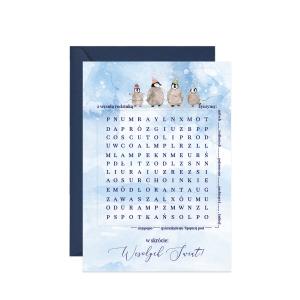 kartka z życzeniami wykreślanka świąteczna Boże Narodzenie