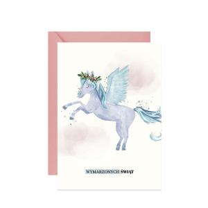 świąteczna kartka z życzeniami akwarelowy pegaz