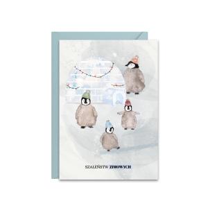 świąteczna kartka z życzeniami z wesołą rodziną pingwinów