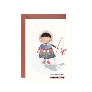 świąteczna kartka z życzeniami z eskimoską z prezentami