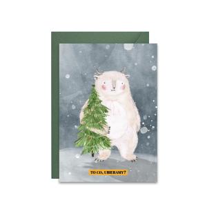 świąteczna kartka z życzeniami z yeti ubierającym choinkę