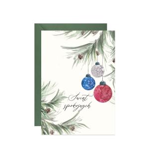 świąteczna kartka z życzeniami z akwarelową ilustracją gałązek z bombkami
