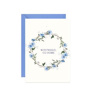 kartka z życzeniami wszystkiego co dobre z akwarelowym wiankiem z chabrów
