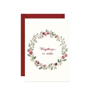 kartka z życzeniami wszystkiego co dobre z akwarelowym wiankiem z róż