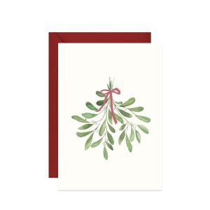 świąteczna kartka z życzeniami z akwarelową ilustracją jemioły