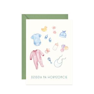 kartka z życzeniami na narodziny dziecka na babyshower