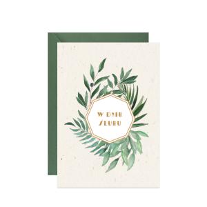 kartka z życzeniami na ślub z ilustracją liści oliwki i eukaliptusa w dniu ślubu