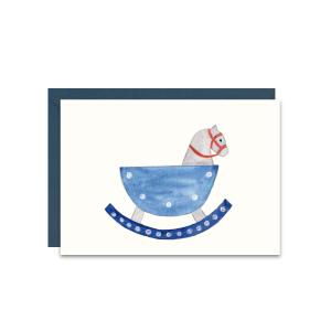 kartka z życzeniami dla dziecka z niebieskim konikiem