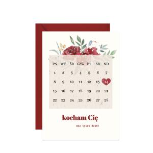 kartka walentynka z kalendarzem kocham cię