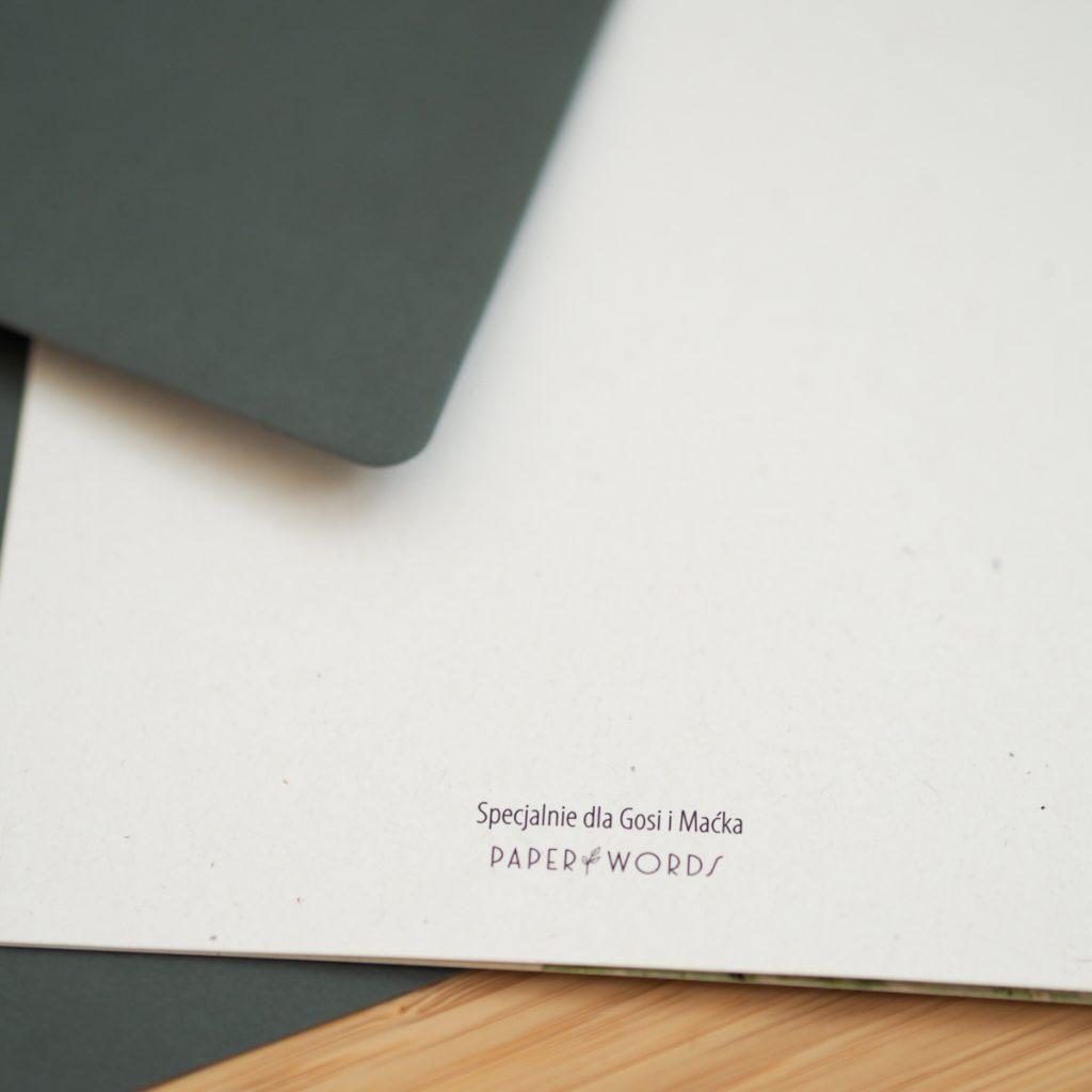 zaproszenia ślubne Paperwords z logo