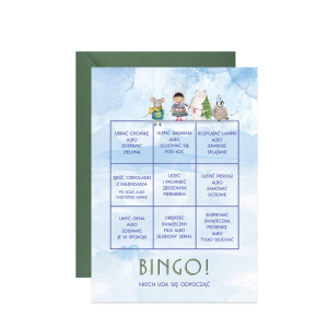 kartka świąteczna z życzeniami zimowa zabawa bingo na Boże Narodzenie