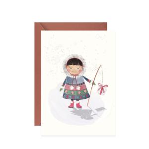 kartka świąteczna zimowa z wesołą eskimoską i prezentem