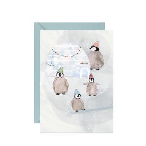 kartka świąteczna zimowa z życzeniami z wesołą rodzinąpingwinów