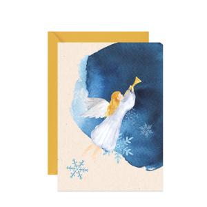 kartka świąteczna z akwarelowym aniołem gloria