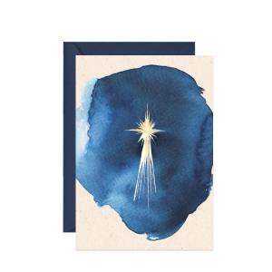 kartka świąteczna z życzeniami z akwarelową gwiazdą betlejemską
