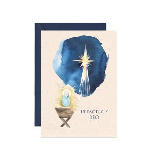 kartka świąteczna z życzeniami - żłóbek i gwiazda betlejemska